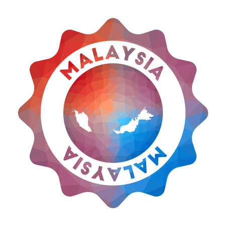 Malaysia low poly   of the country in geometric style. Multicolored polygonal Malaysia rounded sign with map for your infographics. Illusztráció