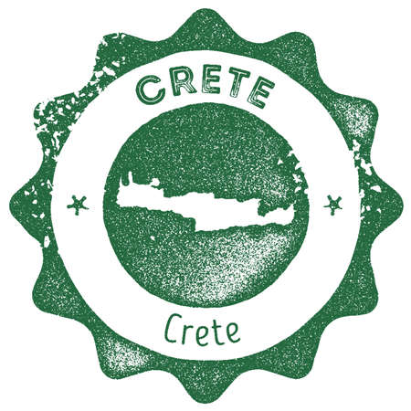 Crete map vintage stamp. Retro style handmade label, badge or element for travel souvenirs. Dark green rubber stamp with island map silhouette. Vector illustration.