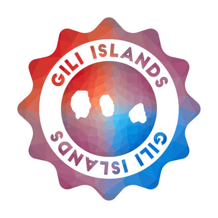 Gili Islands low poly  of the island in geometric style. Multicolored polygonal Gili Islands rounded sign with map for your infographics.