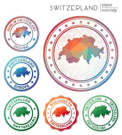 Switzerland badge. Colorful polygonal country symbol. Multicolored geometric Switzerland set. Vector illustration.