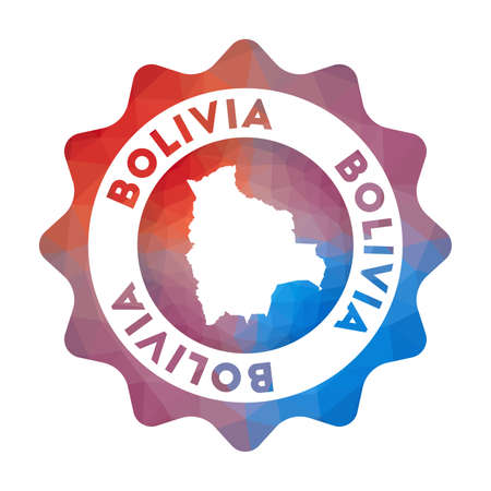 Bolivia low poly   of the country in geometric style. Multicolored polygonal Bolivia rounded sign with map for your infographics. Ilustrace