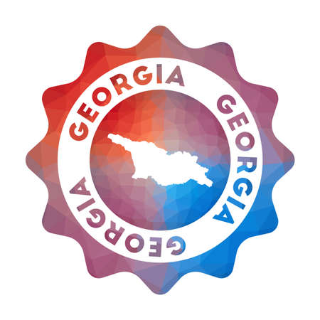 Georgia low poly   of the country in geometric style. Multicolored polygonal Georgia rounded sign with map for your infographics.