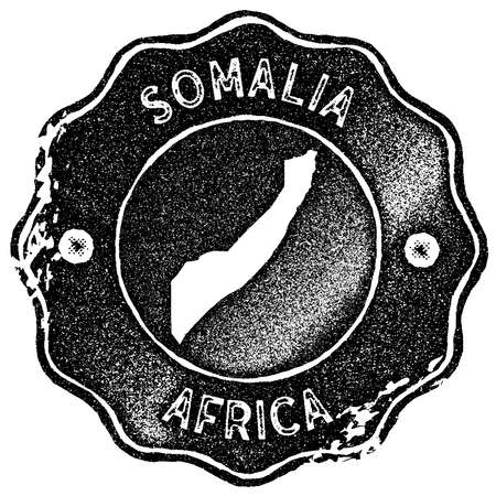 Somalia map vintage stamp. Retro style handmade label, badge or element for travel souvenirs. Black rubber stamp with country map silhouette. Vector illustration. Çizim