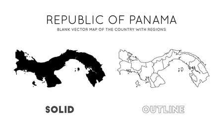 Panama map. Blank vector map of the Country with regions. Borders of Panama for your infographic. Vector illustration. Çizim