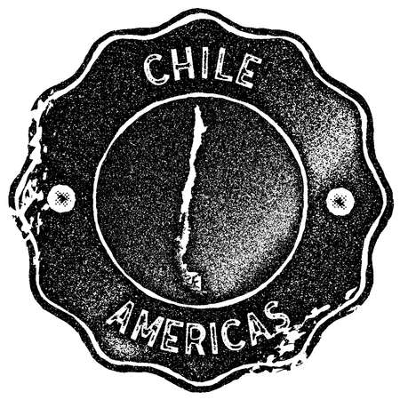 Chile map vintage stamp. Retro style handmade label, badge or element for travel souvenirs. Black rubber stamp with country map silhouette. Vector illustration.