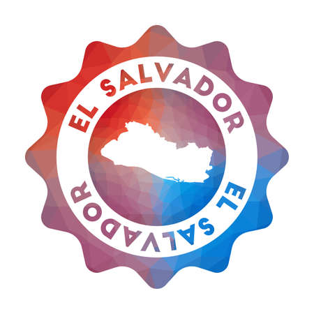 Republic of El Salvador low poly  of the country in geometric style. Multicolored polygonal Republic of El Salvador rounded sign with map for your infographics. Ilustração