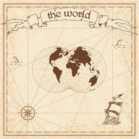 World pirate map. Ancient style navigation atlas. Nicolosi globular projection. Old map vector. Illustration