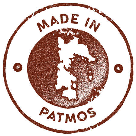 Patmos map vintage stamp. Retro style handmade label, badge or element for travel souvenirs. Red rubber stamp with island map silhouette. Vector illustration.