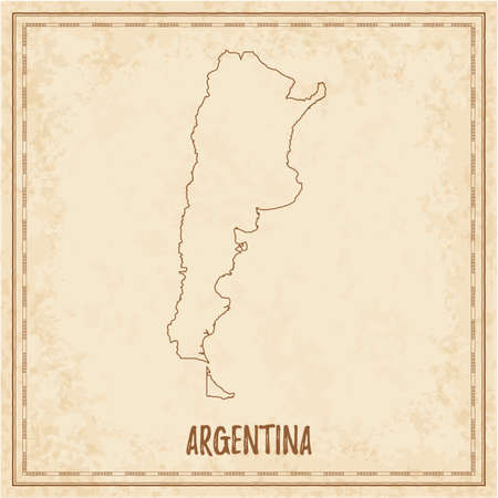 Pirate map of Argentina. Blank vector map of the Country. Vector illustration.