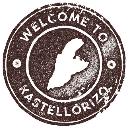 Kastellorizo map vintage stamp. Retro style handmade label, badge or element for travel souvenirs. Brown rubber stamp with island map silhouette. Vector illustration.
