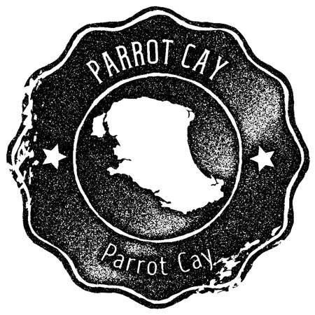 Parrot Cay map vintage stamp. Retro style handmade label, badge or element for travel souvenirs. Black rubber stamp with island map silhouette. Vector illustration. Çizim