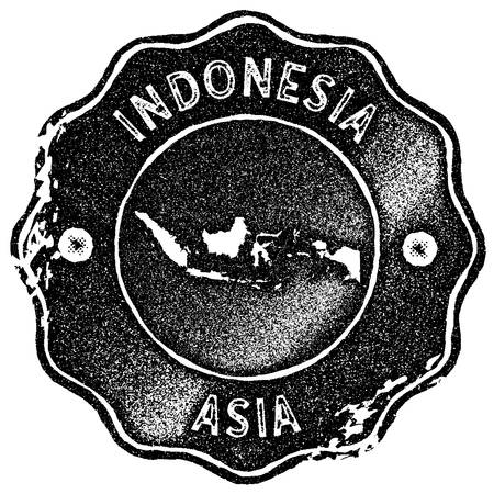 Indonesia map vintage stamp. Retro style handmade label, badge or element for travel souvenirs. Black rubber stamp with country map silhouette. Vector illustration.