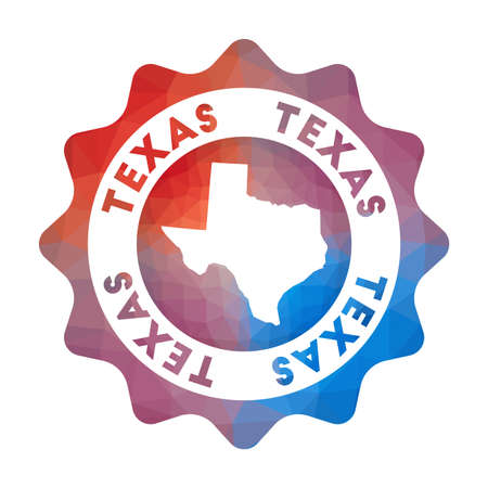 Texas low poly  of the us state in geometric style. Multicolored polygonal Texas rounded sign with map for your infographics. Stock Illustratie