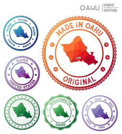 Oahu badge. Colorful polygonal island symbol. Multicolored geometric Oahu   set. Vector illustration.