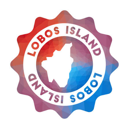 Lobos Island low poly   of the island in geometric style. Multicolored polygonal Lobos Island rounded sign with map for your infographics.