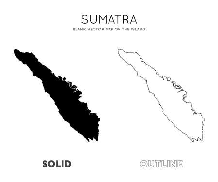 Sumatra map. Blank vector map of the Island. Borders of Sumatra for your infographic. Vector illustration. Çizim