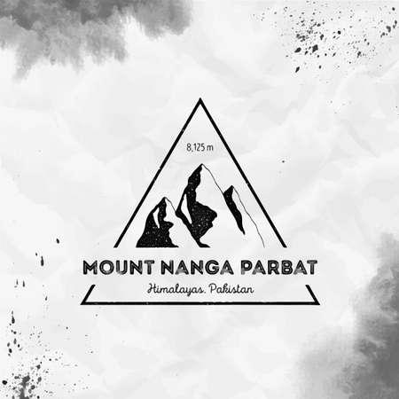 Nanga Parbat  Triangular mountain black vector insignia. Nanga Parbat in Himalayas, Pakistan outdoor adventure illustration. Ilustração