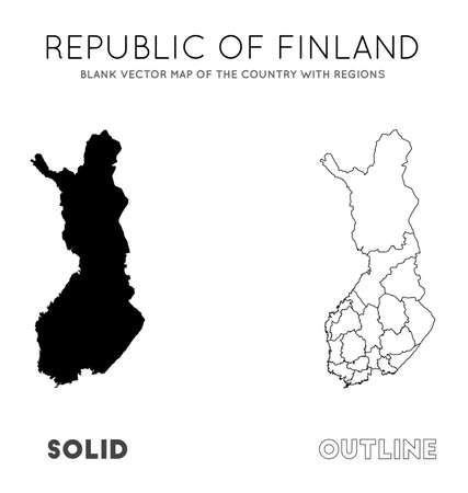 Finland map. Blank vector map of the Country with regions. Borders of Finland for your infographic. Vector illustration.