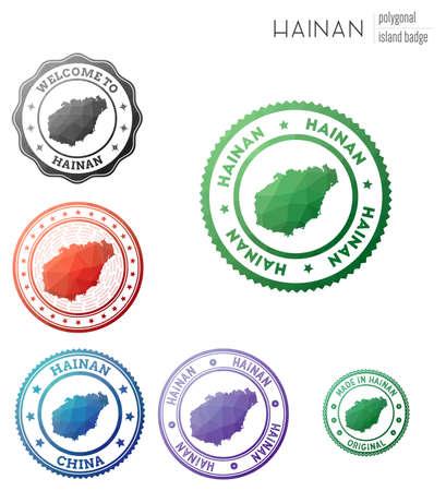 Hainan badge. Colorful polygonal island symbol. Multicolored geometric Hainan  set. Vector illustration. Stock Illustratie