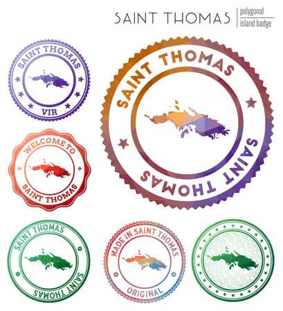 Saint Thomas badge. Colorful polygonal island symbol. Multicolored geometric Saint Thomas set. Vector illustration.