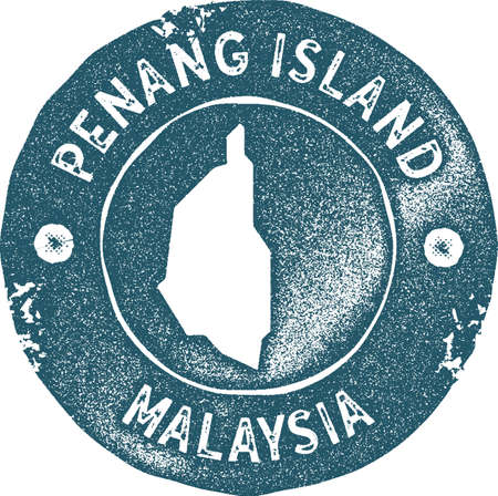 Penang Island map vintage stamp. Retro style handmade label, badge or element for travel souvenirs. Blue rubber stamp with island map silhouette. Vector illustration. Ilustracja