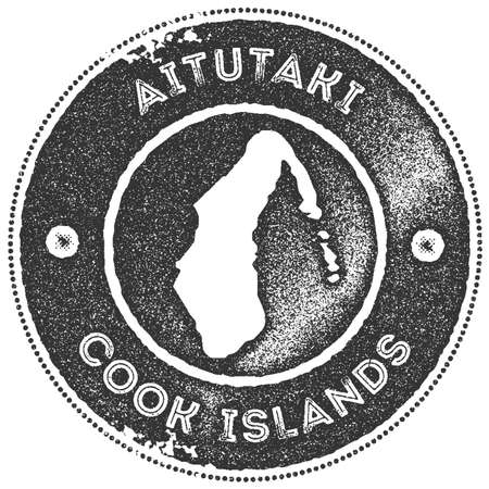 Aitutaki map vintage stamp. Retro style handmade label, badge or element for travel souvenirs. Dark grey rubber stamp with island map silhouette. Vector illustration.