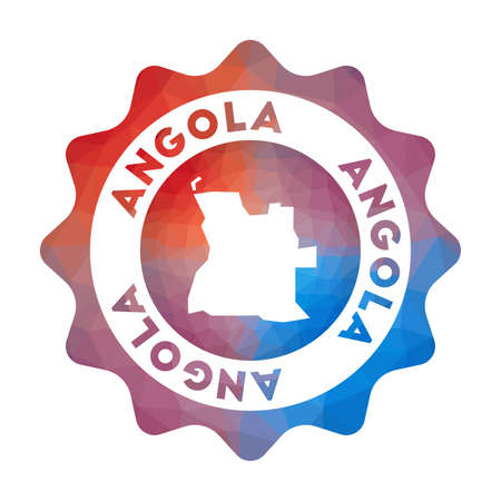 Angola low poly   of the country in geometric style. Multicolored polygonal Angola rounded sign with map for your infographics.
