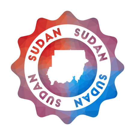 Sudan low poly  of the country in geometric style. Multicolored polygonal Sudan rounded sign with map for your infographics. Stock Illustratie
