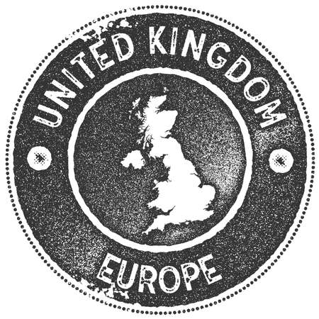 United Kingdom map vintage stamp. Retro style handmade label, badge or element for travel souvenirs. Dark grey rubber stamp with country map silhouette. Vector illustration. Stock Illustratie