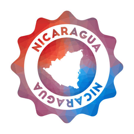 Nicaragua low poly  of the country in geometric style. Multicolored polygonal Nicaragua rounded sign with map for your infographics.