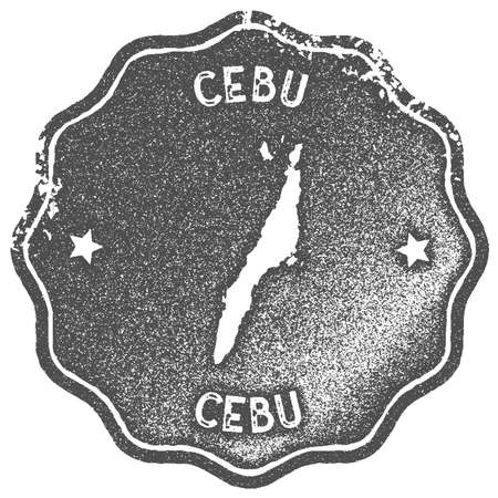 Cebu map vintage stamp. Retro style handmade label, badge or element for travel souvenirs. Grey rubber stamp with island map silhouette. Vector illustration.