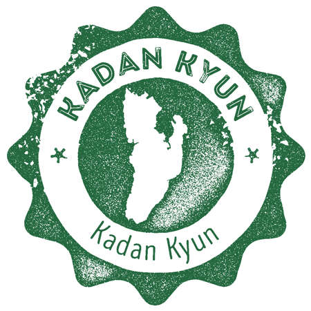 Kadan Kyun map vintage stamp. Retro style handmade label, badge or element for travel souvenirs. Dark green rubber stamp with island map silhouette. Vector illustration.