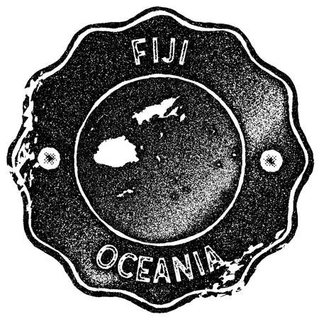 Fiji map vintage stamp. Retro style handmade label, badge or element for travel souvenirs. Black rubber stamp with country map silhouette. Vector illustration.