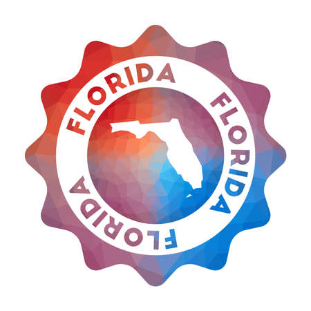 Florida low poly  of the us state in geometric style. Multicolored polygonal Florida rounded sign with map for your infographics.