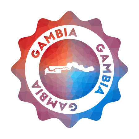Gambia low poly  of the country in geometric style. Multicolored polygonal Gambia rounded sign with map for your infographics.