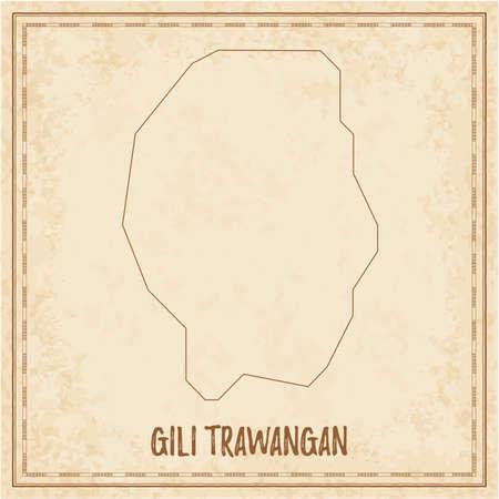 Pirate map of Gili Trawangan. Blank vector map of the Island. Vector illustration.