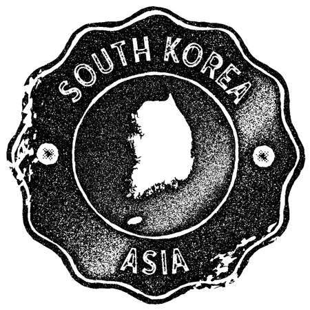 South Korea map vintage stamp. Retro style handmade label, badge or element for travel souvenirs. Black rubber stamp with country map silhouette. Vector illustration.