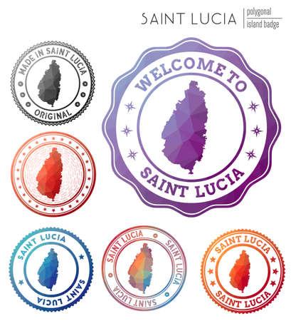 Saint Lucia badge. Colorful polygonal island symbol. Multicolored geometric Saint Lucia   set. Vector illustration.