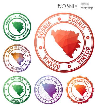 Bosnia badge. Colorful polygonal country symbol. Multicolored geometric Bosnia  set. Vector illustration. Stock Illustratie