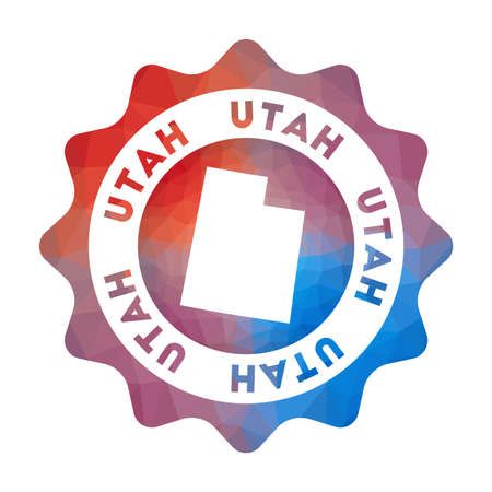 Utah low poly. Colorful gradient travel symbol of the us state in geometric style. Multicolored polygonal Utah rounded sign with map for your infographics.