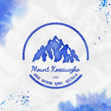Kosciuszko logo. Round hiking blue vector insignia. Kosciuszko in Great Dividing Range, Australia outdoor adventure illustration.