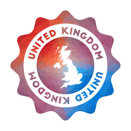 United Kingdom low poly. Colorful gradient travel symbol of the country in geometric style. Multicolored polygonal United Kingdom rounded sign with map for your infographics.