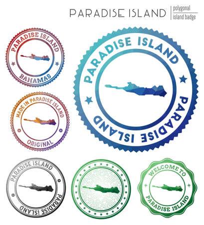 Paradise Island badge. Colorful polygonal island symbol. Multicolored geometric Paradise Island set. Vector illustration. Vetores