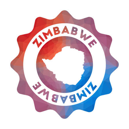 Zimbabwe low poly. Colorful gradient travel of the country in geometric style. Multicolored polygonal Zimbabwe rounded sign with map for your infographics.