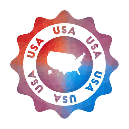 USA low poly. Colorful gradient travelof the country in geometric style. Multicolored polygonal USA rounded sign with map for your infographics.