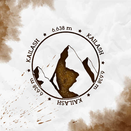 Round stamp sepia vector insignia. Kailash in Himalayas, outdoor adventure illustration. Climbing, trekking, hiking, mountaineering and other extreme activities