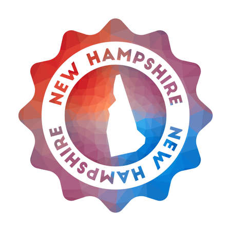 New Hampshire low poly. Colorful gradient travel of the us state in geometric style. Multicolored polygonal New Hampshire rounded sign with map for your infographics. 向量圖像