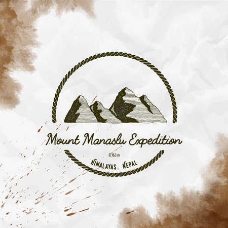 Round trekking sepia vector insignia. Manaslu in Himalayas, Nepal outdoor adventure illustration. Climbing, trekking, hiking, mountaineering and other extreme activities
