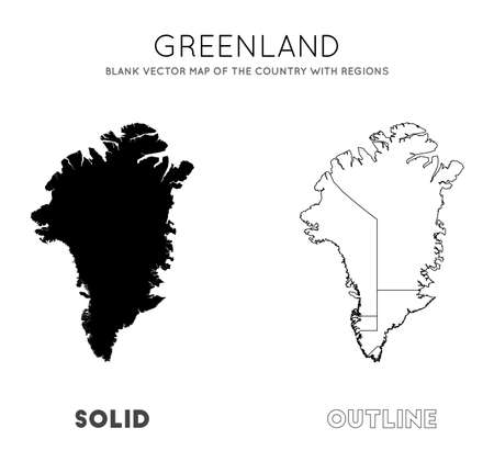 Greenland map. Blank vector map of the Country with regions. Borders of Greenland for your infographic. Vector illustration.