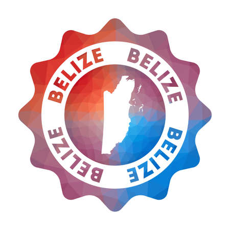 Belize low poly. Colorful gradient travel of the country in geometric style. Multicolored polygonal Belize rounded sign with map for your infographics. 向量圖像